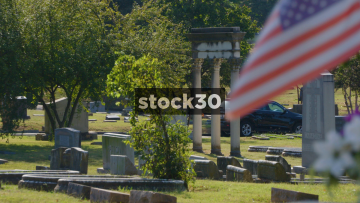 Elmwood Cemetery In Memphis, Tennessee With USA Flag