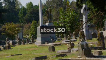 Elmwood Cemetery In Memphis, Tennessee, Zoom Out To Wide Shot, USA