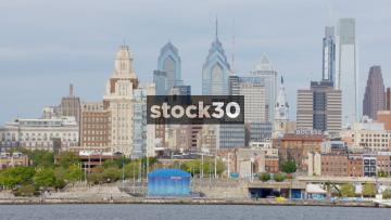Zoom Out From The Philadelphia Skyline By The Delaware River, Philadelphia, Pennsylvania, USA