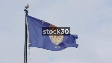 Slow Motion Shot Of The United States Merchant Marine Flag, USA