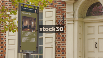 Carpenter's Hall In Philadelphia, Pennslylvania, Sign And Wide Shot, USA