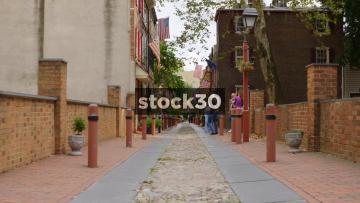 View Down Historic Elfreth's Alley In Philadelphia, Pennsylvania, USA