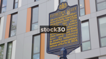 Signs For Elfreth's Alley In Philadelphia, Pennsylvania, USA