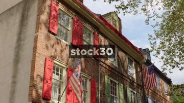3 Shots Of Houses In Elfreth's Alley, Philadelphia, Pennsylvania, USA