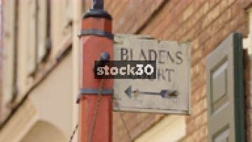Sign For Bladen's Court Off Elfreth's Alley In Philadelphia, Pennsylvania, USA
