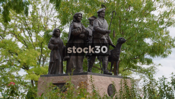 Statue Of Shepherd And Family At The Irish Memorial, Penn's Landing, Philadelphia, Pennsylvania, USA