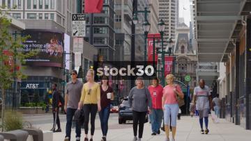 Pedestrians On Market Street In Philadelphia, Pennsylvania, USA