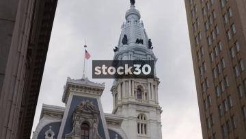 Zoom In To City Hall Clock In Philadelphia, Pennsylvania, USA