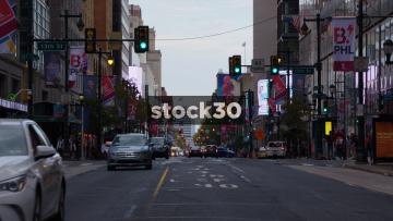 Traffic On Market Street, Early Evening Time In Philadelphia, Pennsylvania