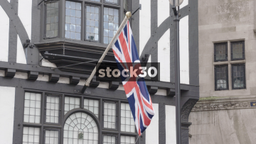 Slow Motion Shot Of Union Jack Flag, UK