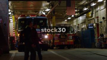 Fire Trucks Departing From House Of Dragons Firehouse In Philadelphia, Pennsylvania, USA