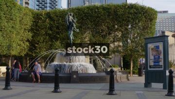 Slow Motion Shot Of Fountain Outside Schermerhorn Symphony Center In Nashville, Tennessee, USA