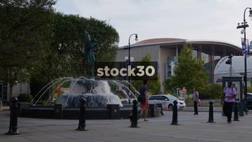 Fountain Outside Schermerhorn Symphony Center In Nashville, Tennessee. Bridgestone Area In Background, USA