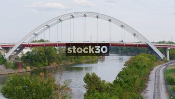 Korean Veterans Memorial Bridge Over The Cumberland River In Nashville, Tennessee, USA
