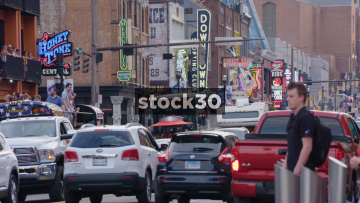 Busy Street Scene In Downtown Nashville, Tennessee, USA