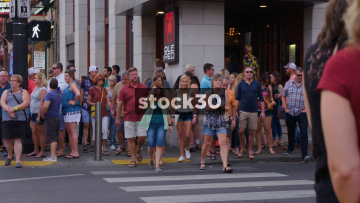 Slow Motion Shot Of People On Pedestrian Crossing In Nashville, Tennessee, USA