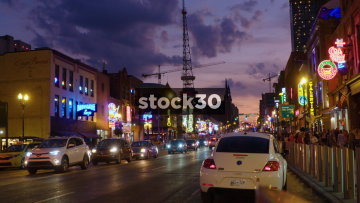 Busy Street In Nashville, Tennessee At Night, USA