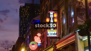 Various Shots Of Neon Signs And Lights In Nashville, Tennessee, USA