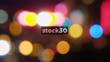 Blurred Emergency Vehicle Lights And Passing Traffic In Nashville, Tennessee, USA