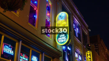 3 Shots Of Neon Signs In Nashville, Tennessee, USA