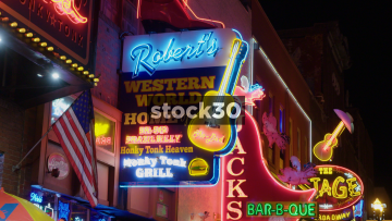 Various Close Up Shots Of Neon Signs In Nashville, Tennessee, USA