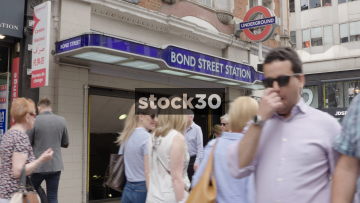 Slow Motion Shot Of The Entrance To Bond Street Tube Station In London, UK