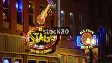 3 Close Up Shots Of Neon Signs In Nashville, Tennessee, USA