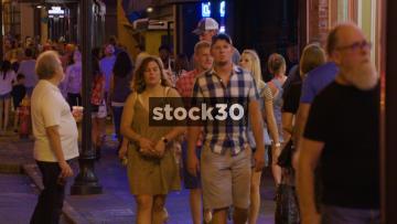 Slow Motion Shot Of People Walking Along Sidewalk In Nashville, Tennessee, USA