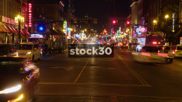 Time-lapse Shot Of Traffic In Downtown Nashville, Tennessee At Night, USA
