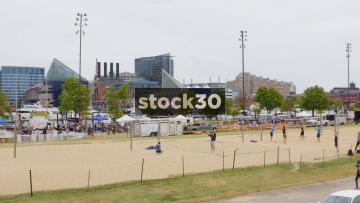Beach Volleyball At Baltimore Beach, Inner Harbor, Baltimore, Maryland, USA