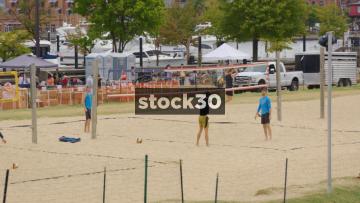Men Training For Beach Volleyball At Baltimore Beach, Inner Harbor, Baltimore, Maryland, USA