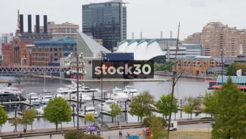 Two Shots Of Inner Harbor Area In Baltimore, Maryland, USA