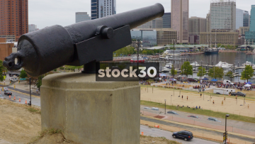 Cannon In Federal Hill Park, Overlooking Inner Harbor, Baltimore, Maryland, USA