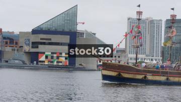 Urban Pirates Ship Arriving At Inner Harbor, Baltimore, Maryland, USA