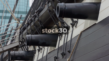 Cannons On USS Constellation At Inner Harbor, Baltimore, USA
