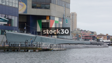 Close Up Of USS Torsk World War II Submarine At Inner Harbor, Baltimore, Maryland, USA