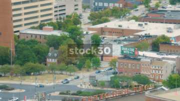 Aerial Shot Of Baltimore, Maryland, Zoom Out, USA