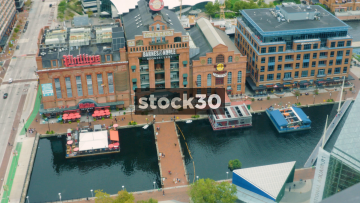 Panning Aerial Shot Of Phillips Seafood And The Power Plant In Baltimore, Maryland, USA