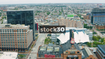 Wide Panning Aerial Shot Of Baltimore, Maryland, USA