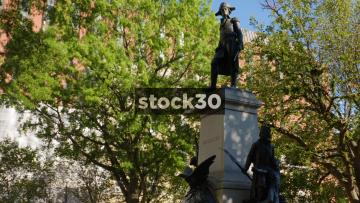 Wide Shot Of Statue Of General Tadeusz Kościuszko In Lafayette Square, Washington DC, USA