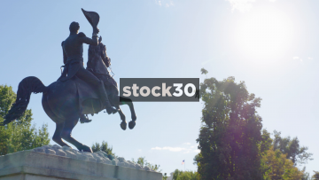Two Shots Of President Andrew Jackson Statue In Layafette Square, Washington DC, USA