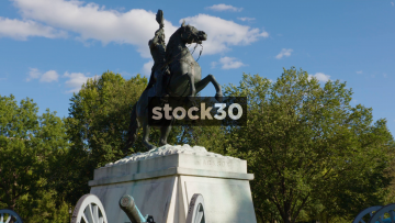 Zoom In To President Andrew Jackson Statue In Lafayette Park, Washington DC, USA