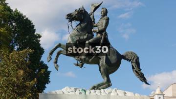 Close Up Shot Of President Andrew Jackson Statue In Lafayette Square, Washington DC, USA