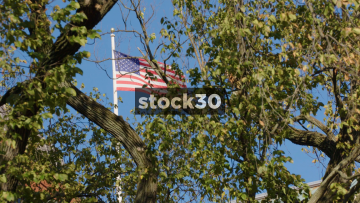 Shot Of American Flag Through Trees In Lafayette Square, Washington DC, USA
