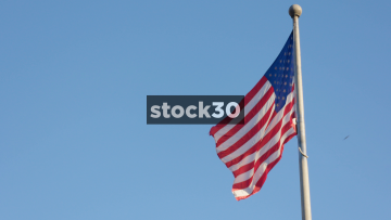 Slow Motion Shot Of The US Flag Flying In Washington DC, USA