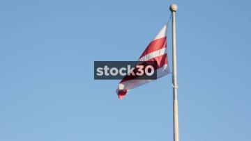Slow Motion Shot Of The Flag Of Washington DC, USA