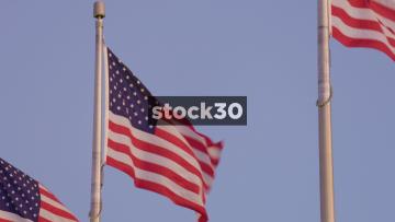 Close Up Of US Flags At The Washington Monument In Washington DC, USA