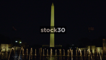 Night Shot Of Washington Monument And World War II Memorial Fountain In Washington DC, USA
