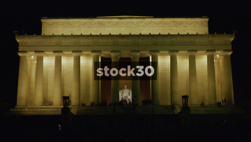 Night Time Wide Shot Of Lincoln Memorial In Washington DC, USA