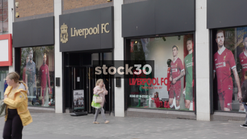 Liverpool FC Store Panning Shot, UK